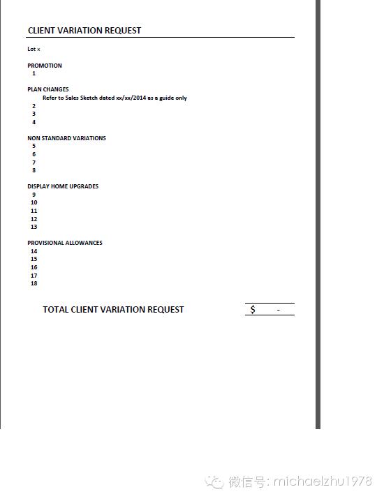 Client Variations